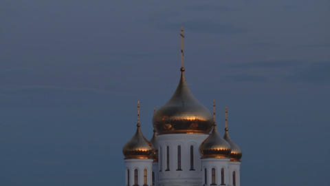Dome of Orthodox Temple and Sky in Morning ビデオ