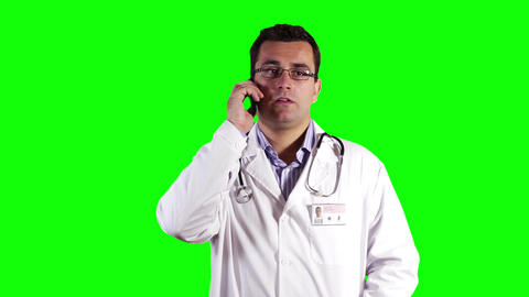 Young Doctor Cell Phone Greenscreen 31 Stock Video Footage