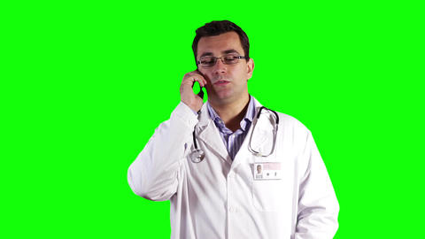 Young Doctor Cell Phone Greenscreen 31 Footage