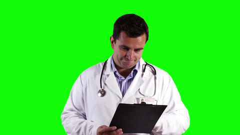 Young Doctor Checking Papers Bad News Greenscreen 25 Stock Video Footage