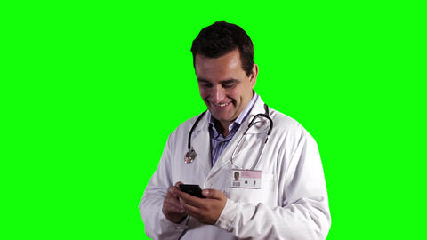 Young Doctor Smartphone Good News Greenscreen 8 Stock Video Footage
