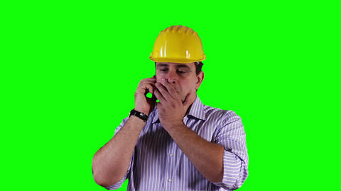 Young Engineer Cell Phone Bad News Greenscreen 8 Stock Video Footage