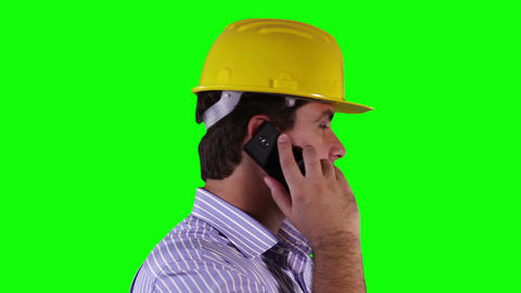 Young Engineer Cell Phone Close Up Greenscreen 26 Stock Video Footage