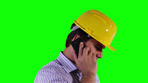 Young Engineer Cell Phone Close Up Greenscreen 26 Footage