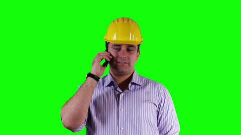 Young Engineer Cell Phone Good News Greenscreen 7 Stock Video Footage