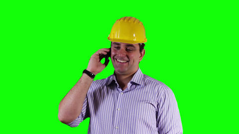 Young Engineer Cell Phone Good News Greenscreen 7 Footage