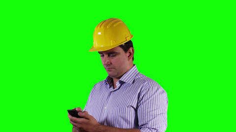 Young Engineer Cell Phone Good News Greenscreen 11 Stock Video Footage