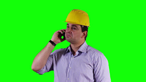 Young Engineer Cell Phone Greenscreen 6 Footage