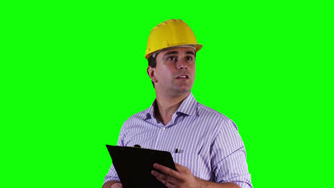 Young Engineer Checking Documents Bad News Greenscreen 21 Stock Video Footage