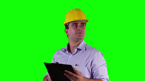 Young Engineer Checking Documents Bad News Greenscreen 21 Footage
