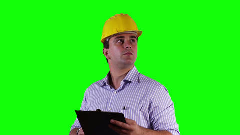 Young Engineer Checking Documents Greenscreen 19 Footage