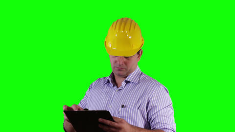 Young Engineer Checking Documents Greenscreen 19 Stock Video Footage