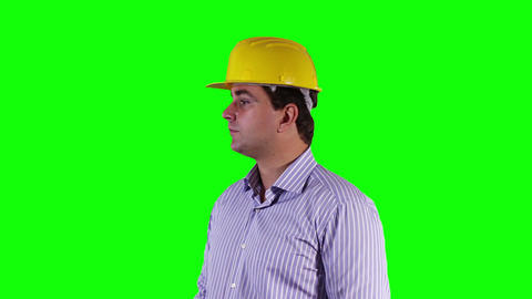 Young Engineer Looking around Greenscreen 5 Footage