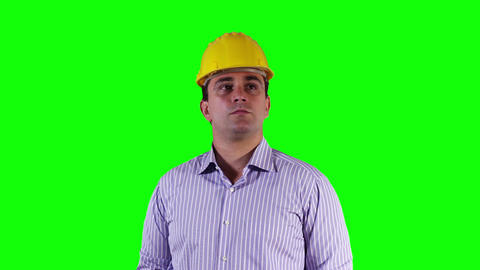 Young Engineer Looking around Greenscreen 5 Stock Video Footage