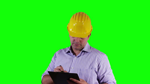 Young Engineer Making Notes Greenscreen 23 Stock Video Footage