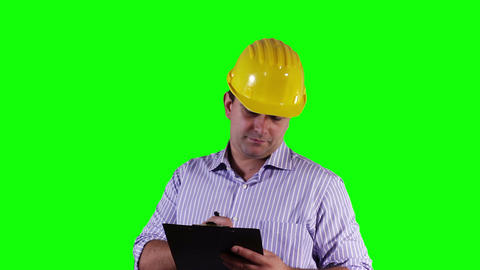 Young Engineer Making Notes Greenscreen 23 stock footage