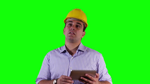 Young Engineer Satisfied Thumbs Up Tablet PC Greenscreen 13 Footage