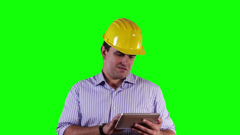 Young Engineer Satisfied Thumbs Up Tablet PC Greenscreen 13 Stock Video Footage