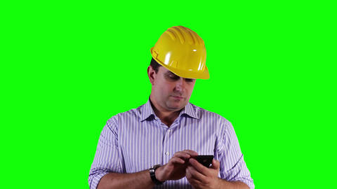 Young Engineer Smartphone Greenscreen 10 Stock Video Footage