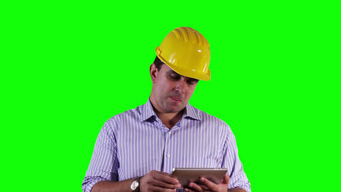 Young Engineer Tablet PC Bad News Greenscreen 16 Stock Video Footage
