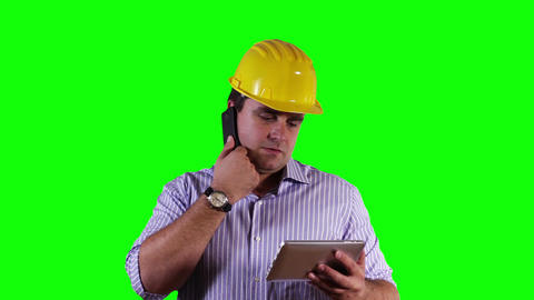 Young Engineer Tablet PC Cell Phone Greenscreen 18 Footage
