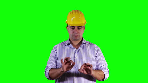 Young Engineer Virtual Screen Typing Greenscreen 2 Stock Video Footage