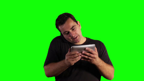 Young Man Angry Mad Tablet PC Cell Phone Greenscreen 18 Stock Video Footage