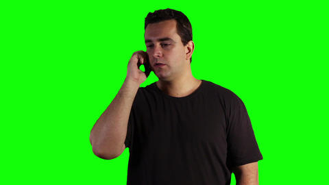 Young Man Cell Phone Bad News Greenscreen 05 Footage