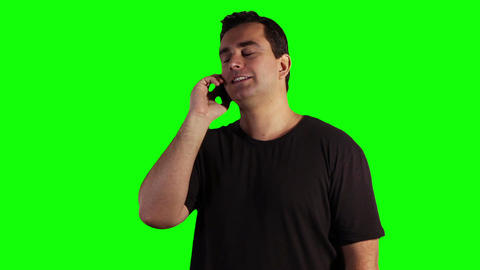 Young Man Cell Phone Good News Greenscreen 07 Stock Video Footage