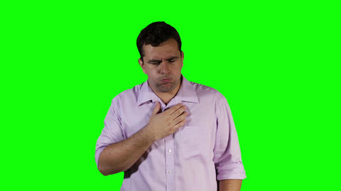 Young Man Coughing Hard Green Screen 19 Stock Video Footage