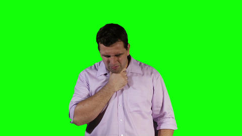 Young Man Coughing Hard Green Screen 19 Footage