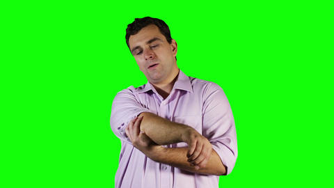 Young Man Elbow Pain Green Screen 11 Stock Video Footage