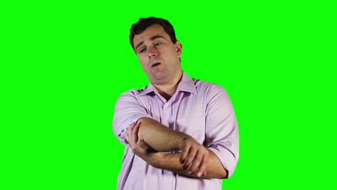 Young Man Elbow Pain Green Screen 11 stock footage