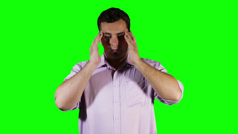 Young Man Headache Green Screen 1 Stock Video Footage
