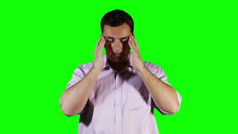 Young Man Headache Green Screen 1 stock footage