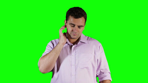 Young Man Hurting Ears Green Screen 3 Stock Video Footage