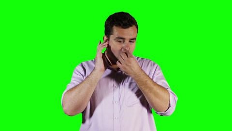 Young Man Hurting Ears Green Screen 3 stock footage