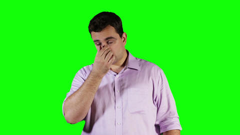 Young Man Hurting Nose Green Screen 7 Stock Video Footage