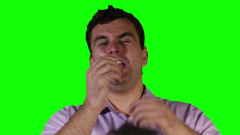 Young Man Keeps Sneezing Green Screen 22 stock footage
