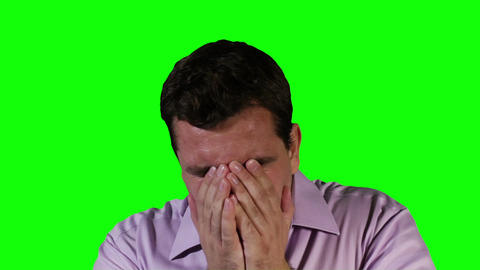 Young Man Keeps Sneezing Green Screen 22 Stock Video Footage