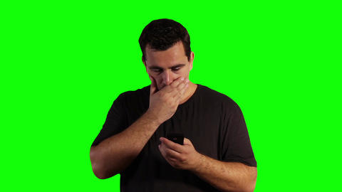 Young Man Smartphone Bad News Greenscreen 02 Stock Video Footage
