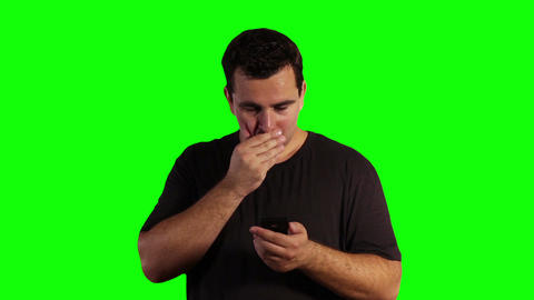 Young Man Smartphone Bad News Greenscreen 02 Footage