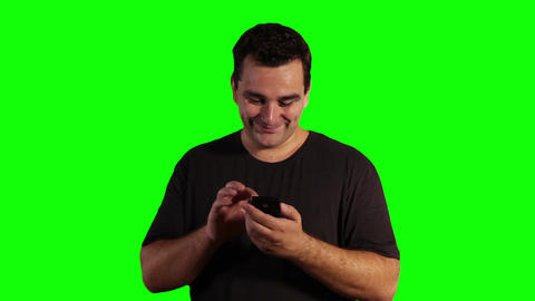Young Man Smartphone Greenscreen 01 Stock Video Footage