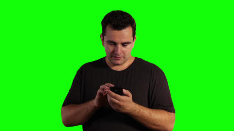 Young Man Smartphone Greenscreen 01 Footage