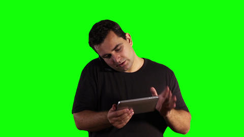 Young Man Tablet PC Cell Phone Greenscreen 17 Footage