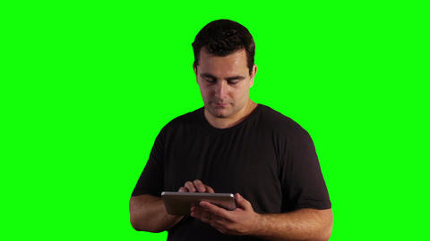 Young Man Tablet PC Greenscreen 08 Footage