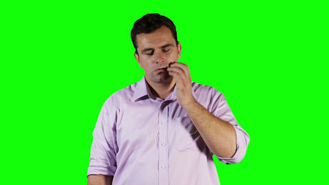 Young Man Tooth Pain Green Screen 4 Stock Video Footage