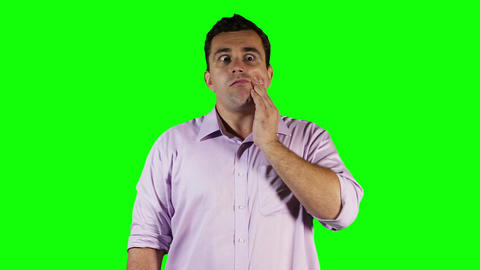 Young Man Tooth Pain Green Screen 4 stock footage