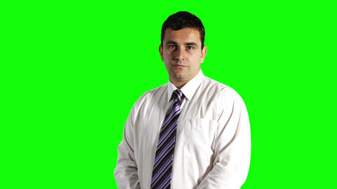Young Serious Businessman Looking Up Greenscreen 4 Stock Video Footage