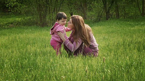 Mother and the Baby Girl Stock Video Footage